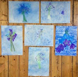 Image of Oakleaf's client's paintings of flowers