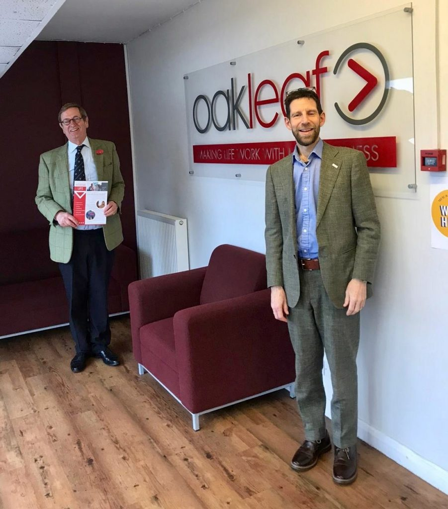 Image of Michael More-Molyneux, HM Lord-Lieutenant of Surrey and Clive Stone, Oakleaf Chief Executive at the Oakleaf office